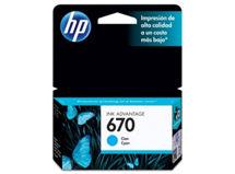 Tinta HP 670 Cyan $8.990