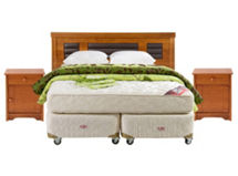 Set Box Americano Excellence Plus Isidora 2 Plazas Base Dividida: Muebles + Textil $299.990