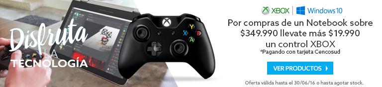 Por la compra de cualquier Notebook, lleva mas + $19.990 un control Xbox, pagando con tarjeta Cencosud