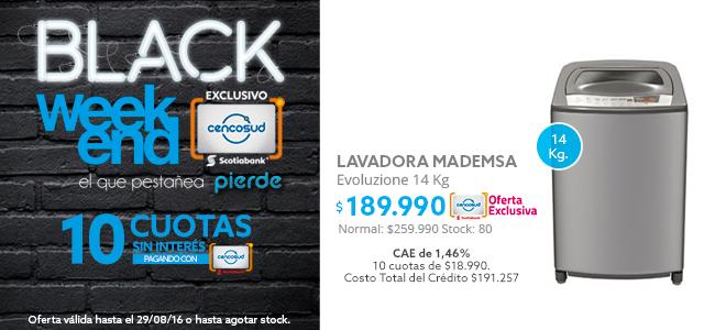 Black Weekend, Lavadora Superior Mademsa Evoluzione 14 Kg A $189.990 Y Lavadora Secadora Samsung WD90J6410AW/ZS 9/5 Kg A $329.990
