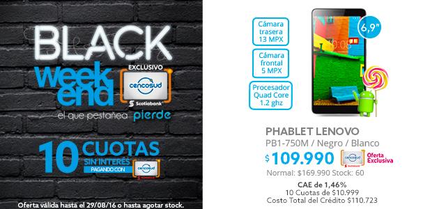 Phablet Lenovo PB1-750M Movistar a $109.990 y Notebook Lenovo 14 Intel Pentium 8GB/500GB/ T. Video 1 GB a $229.990