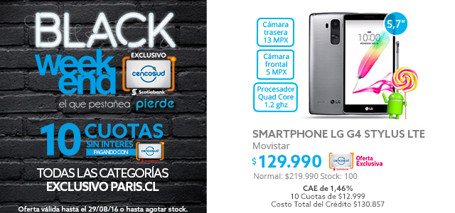Black Weekend Smartphone LG a $129.990 y Notebook hp a $279.990