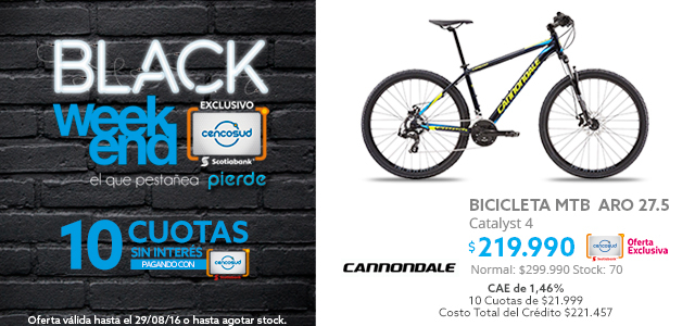 Black Weekend, Bicicleta MTB Cannondale Catalyst 4 Aro 27.5 a $219.990 y Bicicleta Elíptica Exercise BE5830 a $79.990