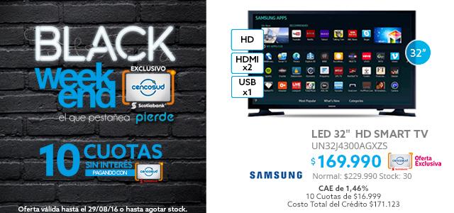 Black Weekend, LED 32 Samsung Smart TV HD a $169.990 y LED 48 Samsung Smart TV Full HD a$279.990
