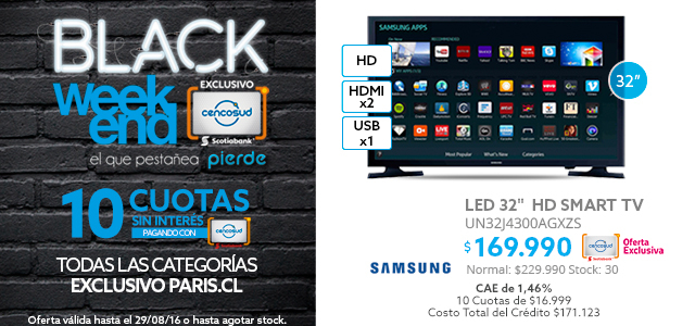 Black Weekend, LED Samsung 32 a $169.990 y LED LG 43 a $279.990