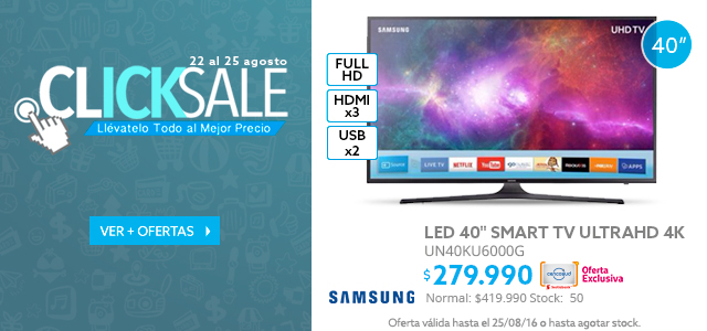LEd 55 LG a $629.990 y LED 40 Samsung a $279.990
