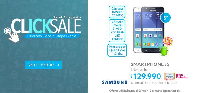 Smarphone Samsung J5 a $129.990 y Notebook HP 14 a 299.990