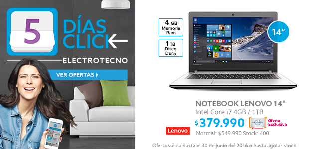 5 Días Click, Notebook Lenovo 14 a $379.990 y Notebook HP 14 a $269.990