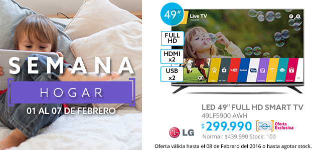 Semana Hogar, LED LG Smart TV 49LF5900 AWH 49 a $299.990