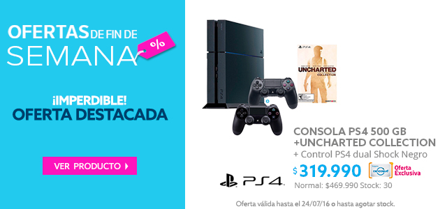 Consola PS4 500 GB + Uncharted Collection (descargable) + Control PS4 dual shock Negro a $319.990