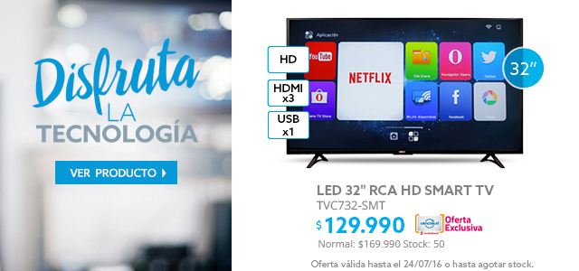 LED 32 RCA TVC732-SMT Smart TV HD a $129.990 y LED 49 LG Smart TV UltraHD 4K a $349.990