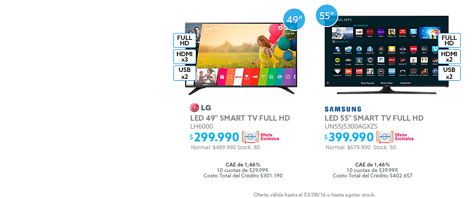 Black Weekend, Led LG 49 a $299.990 y Led Samsung 55 a $399.990
