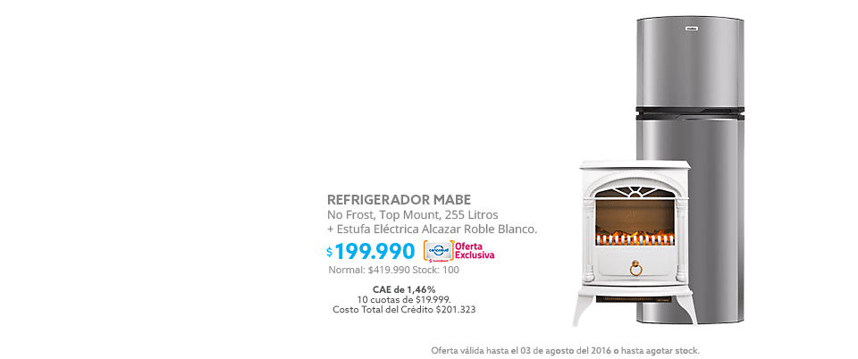 Black Weekend, Refrigerador Mabe + Estufa electrica a $199.990