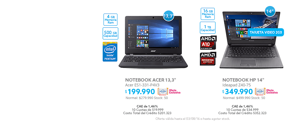 Black Weekend, Notebook Acer a $199.990 y  Notebook HP a $349.990