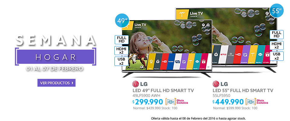 Semana Hogar, LED LG Smart TV 49LF5900 AWH 49 a $299.990 y LED LG 55 55LF5950 Smart TV a $449.990