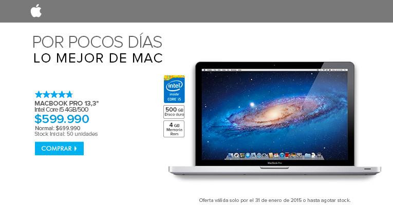 Macbook pro 13,3 a $599.990