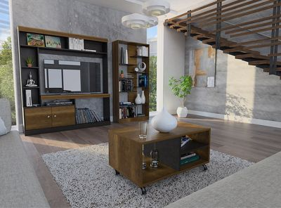 Combo Living Classic Estante 46 Biblioteca Arrimo Mesa De  # Muebles Cic Camino Melipilla