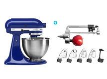 Combo KitchenAid: Batidora de Pedestal Artisan Azul + Cortador en Espiral con Cuchillas 5KSM1APC